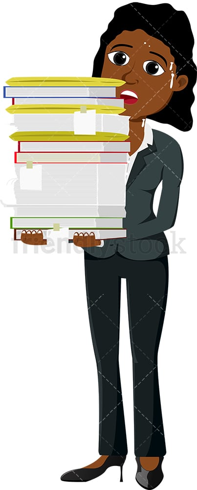 Worried black businesswoman carrying paperwork. PNG - JPG and vector EPS file formats (infinitely scalable). Image isolated on transparent background.