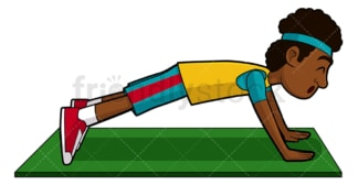 Young black man doing push ups. PNG - JPG and vector EPS file formats (infinitely scalable). Image isolated on transparent background.