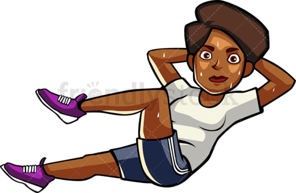 A blAck womAn doing bicycle crunches. PNG - JPG and vector EPS file formats (infinitely scalable). Image isolated on transparent background.