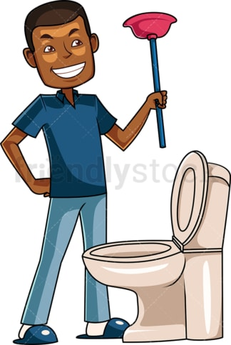 African-American man holding plunger. PNG - JPG and vector EPS file formats (infinitely scalable). Image isolated on transparent background.