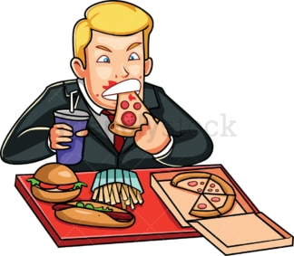 Avaricious man devouring junk food. PNG - JPG and vector EPS file formats (infinitely scalable). Image isolated on transparent background.