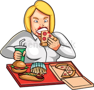 Avaricious woman devouring junk food. PNG - JPG and vector EPS file formats (infinitely scalable). Image isolated on transparent background.