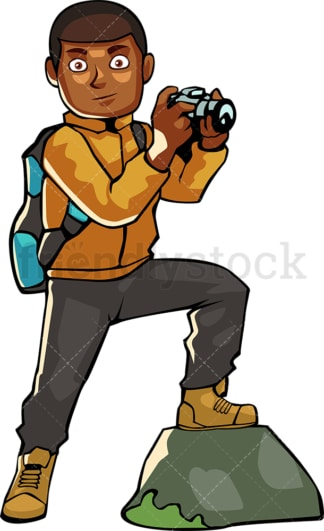 Backpacking black man taking photo with camera. PNG - JPG and vector EPS file formats (infinitely scalable). Image isolated on transparent background.