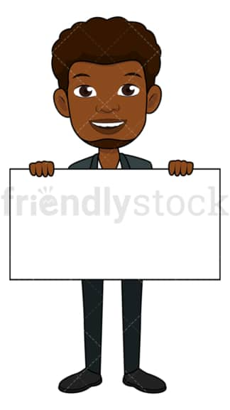 Black businessman holding empty horizontal sign. PNG - JPG and vector EPS file formats (infinitely scalable). Image isolated on transparent background.