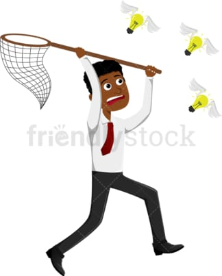 Black businessman pursuing ideas with net. PNG - JPG and vector EPS file formats (infinitely scalable). Image isolated on transparent background.