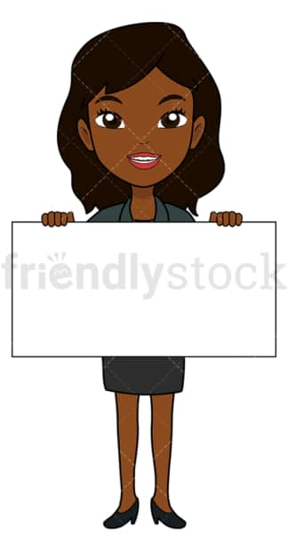 Black businesswoman holding an empty sign. PNG - JPG and vector EPS file formats (infinitely scalable). Image isolated on transparent background.