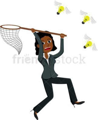 Black businesswoman running after lightbulbs with wings. PNG - JPG and vector EPS file formats (infinitely scalable). Image isolated on transparent background.