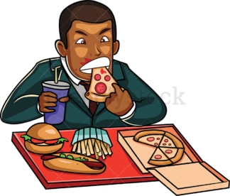 Black corporate man eating junk food. PNG - JPG and vector EPS file formats (infinitely scalable). Image isolated on transparent background.