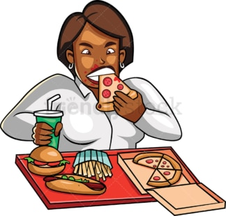 Black corporate woman eating junk food. PNG - JPG and vector EPS file formats (infinitely scalable). Image isolated on transparent background.