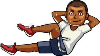 Black man doing bicycle crunches. PNG - JPG and vector EPS file formats (infinitely scalable). Image isolated on transparent background.