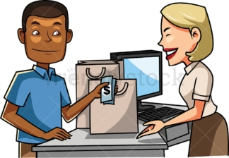 Black man paying female clerk with cash. PNG - JPG and vector EPS file formats (infinitely scalable). Image isolated on transparent background.