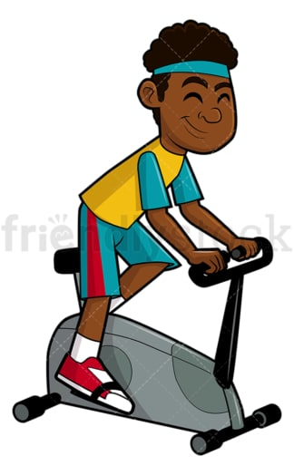 Black man using stationary bike. PNG - JPG and vector EPS file formats (infinitely scalable). Image isolated on transparent background.
