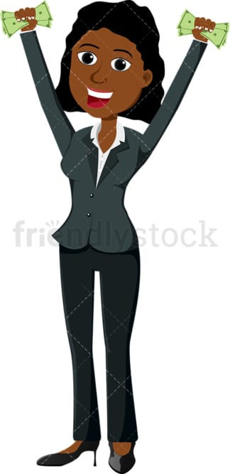 Black woman holding fistful of money in each hand. PNG - JPG and vector EPS file formats (infinitely scalable). Image isolated on transparent background.