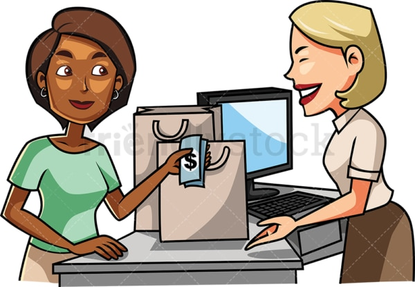 Black woman paying with cash. PNG - JPG and vector EPS file formats (infinitely scalable). Image isolated on transparent background.