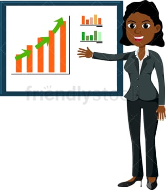 Black woman pointing to upwards trending graph. PNG - JPG and vector EPS file formats (infinitely scalable). Image isolated on transparent background.