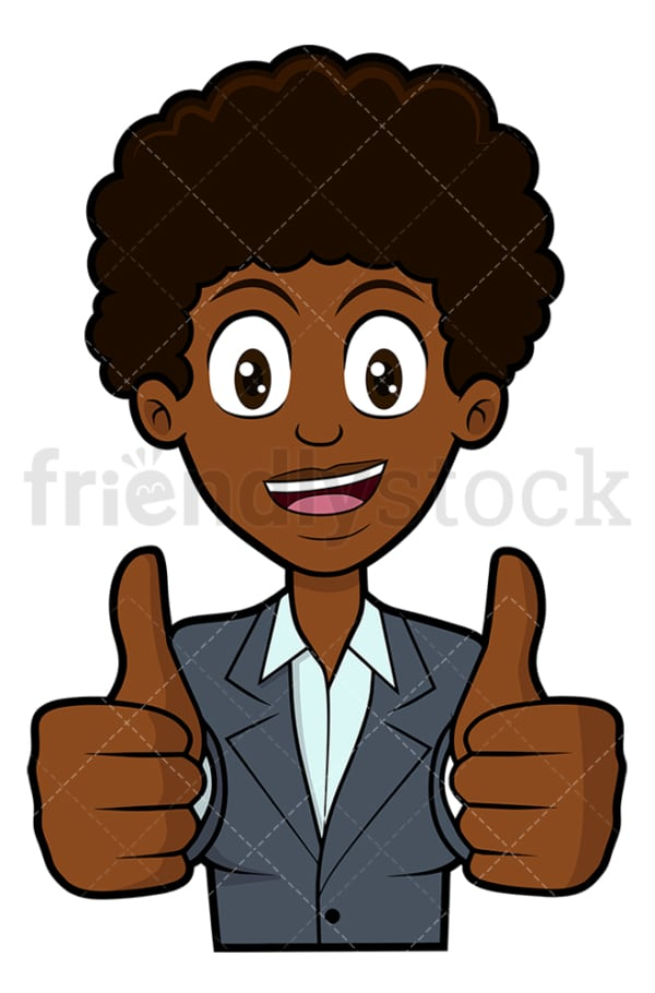 Black woman thumbs up with both hands. PNG - JPG and vector EPS file formats (infinitely scalable). Image isolated on transparent background.