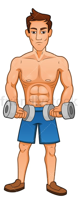 Buff man exercising with dumbbells. PNG - JPG and vector EPS (infinitely scalable).