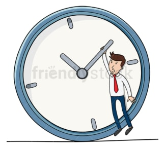 Business man trying to make deadline. PNG - JPG and vector EPS file formats (infinitely scalable). Image isolated on transparent background.