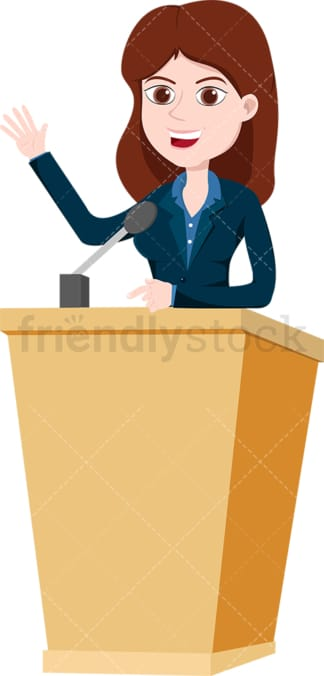 Woman on podium public speaking with confidence. PNG - JPG and vector EPS file formats (infinitely scalable). Image isolated on transparent background.