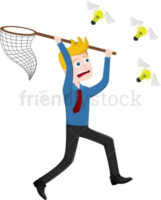 Businessman chasing down ideas flying away. PNG - JPG and vector EPS file formats (infinitely scalable). Image isolated on transparent background.