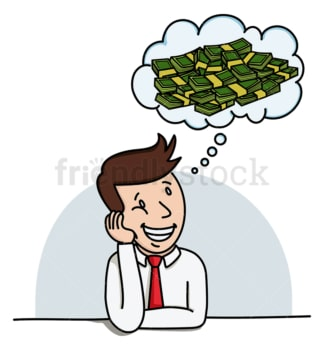 Businessman dreaming about money. PNG - JPG and vector EPS (infinitely scalable).