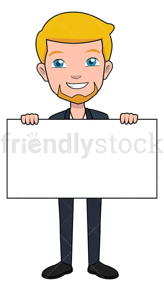 Businessman holding blank piece of poster board. PNG - JPG and vector EPS file formats (infinitely scalable). Image isolated on transparent background.