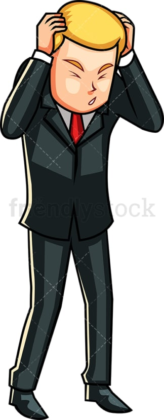 Businessman holding head and squinting. PNG - JPG and vector EPS file formats (infinitely scalable). Image isolated on transparent background.
