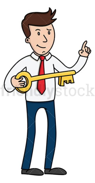 Businessman holding large key. PNG - JPG and vector EPS (infinitely scalable).