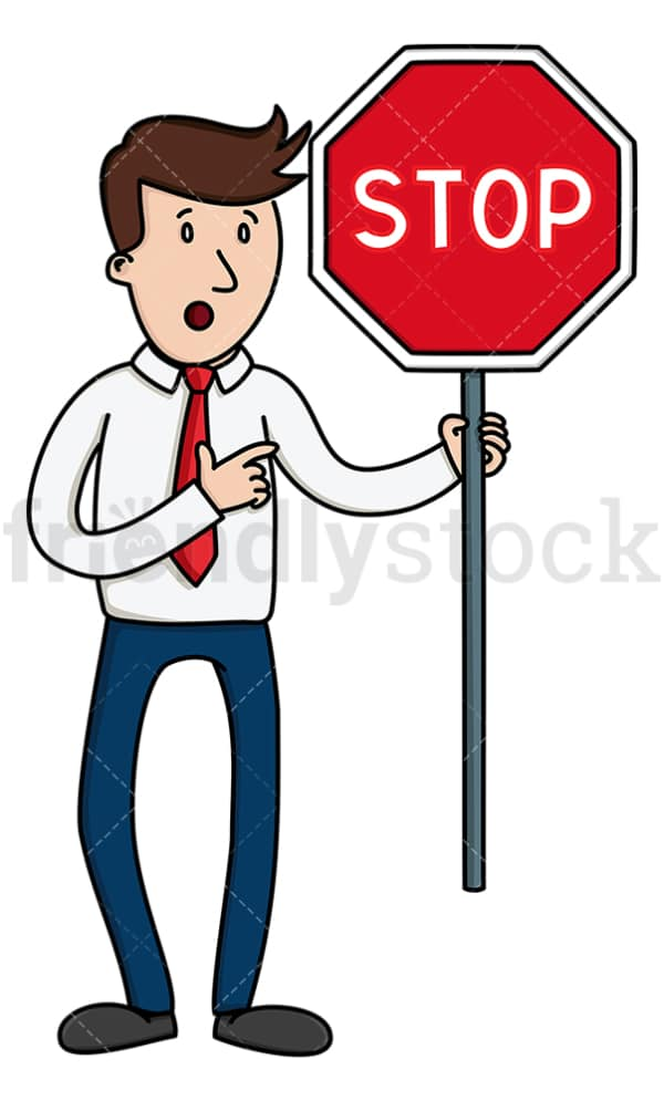 Businessman holding red stop sign. PNG - JPG and vector EPS file formats (infinitely scalable). Image isolated on transparent background.