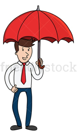 Businessman holding open umbrella. PNG - JPG and vector EPS (infinitely scalable).