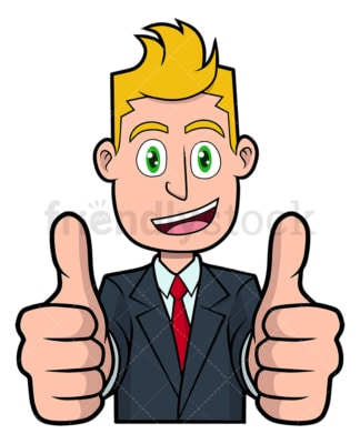 Businessman thumbs up with both hands. PNG - JPG and vector EPS file formats (infinitely scalable). Image isolated on transparent background.