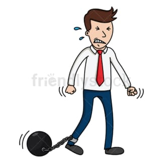 Businessman with ball and chain. PNG - JPG and vector EPS (infinitely scalable).