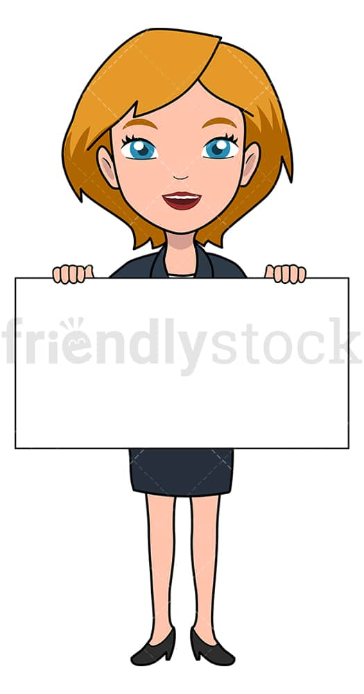 Businesswoman holding blank board. PNG - JPG and vector EPS file formats (infinitely scalable). Image isolated on transparent background.