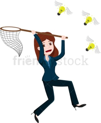 Businesswoman in pursuit of lightbulbs flying away. PNG - JPG and vector EPS file formats (infinitely scalable). Image isolated on transparent background.