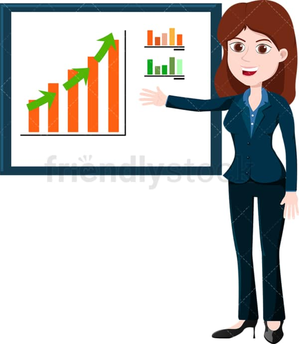 Businesswoman pointing to bar graph on wall. PNG - JPG and vector EPS file formats (infinitely scalable). Image isolated on transparent background.