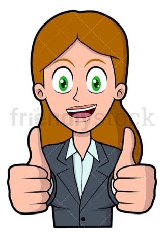 Businesswoman thumbs up with both hands. PNG - JPG and vector EPS file formats (infinitely scalable). Image isolated on transparent background.