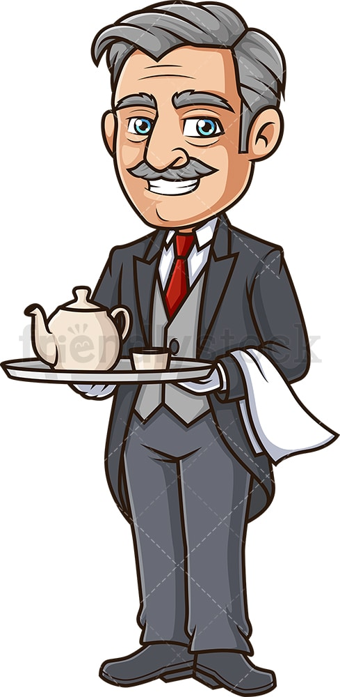 Butler serving tea. PNG - JPG and vector EPS (infinitely scalable).