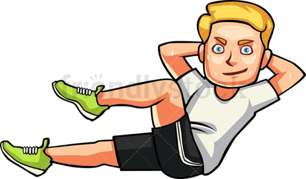 Caucasian man doing bicycle crunches. PNG - JPG and vector EPS file formats (infinitely scalable). Image isolated on transparent background.