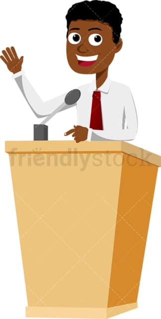 Confident black man smiling behind podium. PNG - JPG and vector EPS file formats (infinitely scalable). Image isolated on transparent background.
