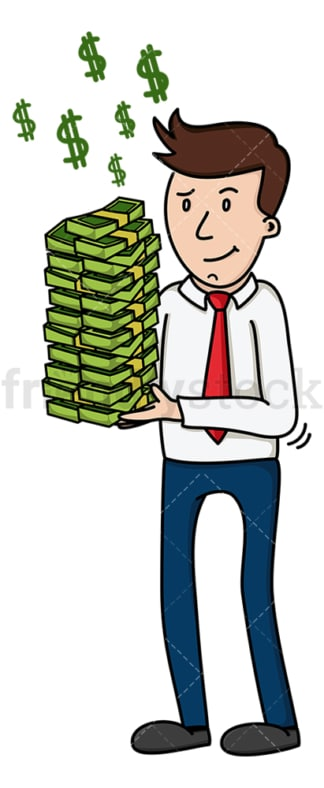 Corporate man holding pile of cash. PNG - JPG and vector EPS (infinitely scalable).
