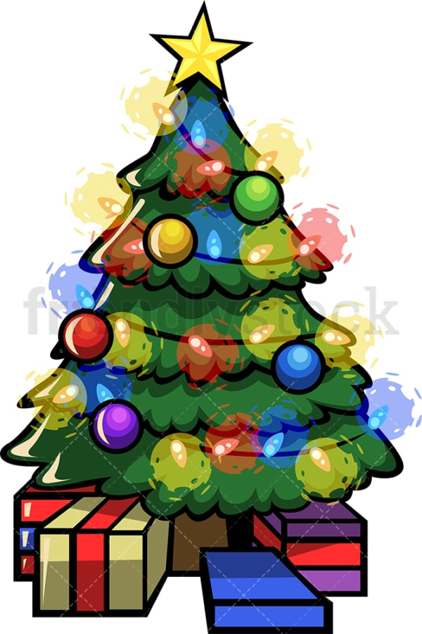Decorated christmas tree with lights. PNG - JPG and vector EPS file formats (infinitely scalable). Image isolated on transparent background.