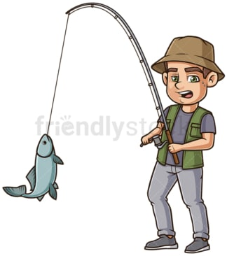 Fisherman reeling in fish. PNG - JPG and vector EPS (infinitely scalable).