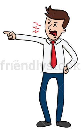 Furious businessman pointing and yelling. PNG - JPG and vector EPS file formats (infinitely scalable). Image isolated on transparent background.