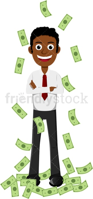 Happy black man taking money shower. PNG - JPG and vector EPS file formats (infinitely scalable). Image isolated on transparent background.