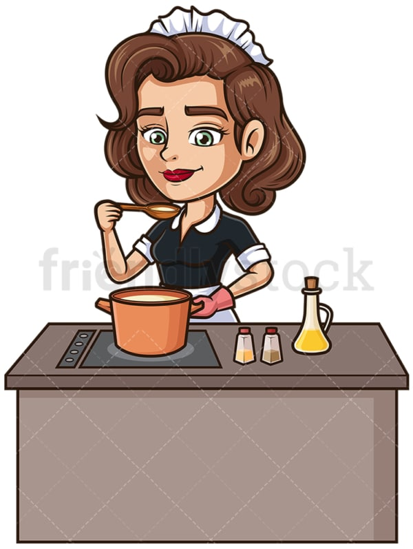 Maid cooking. PNG - JPG and vector EPS (infinitely scalable).