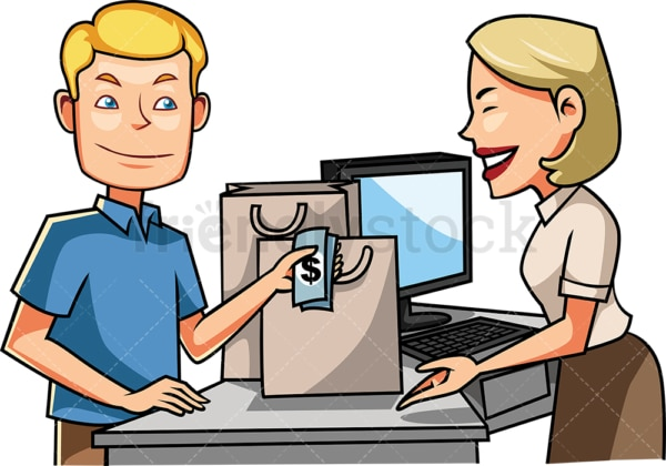 Man at the counter paying with cash. PNG - JPG and vector EPS file formats (infinitely scalable). Image isolated on transparent background.