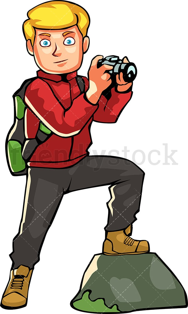 Man backpacking taking photo with camera. PNG - JPG and vector EPS file formats (infinitely scalable). Image isolated on transparent background.