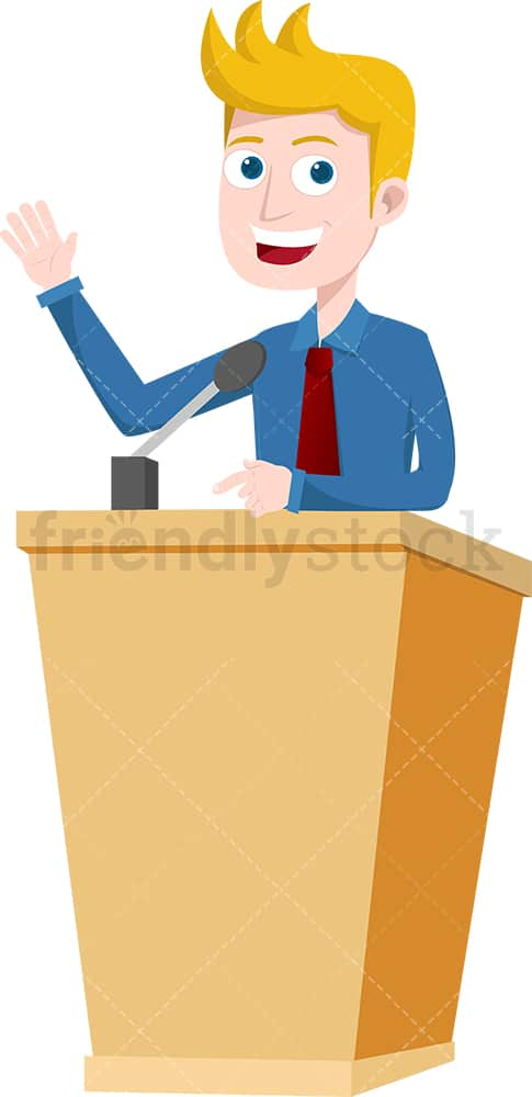 Man behind podium giving speech. PNG - JPG and vector EPS file formats (infinitely scalable). Image isolated on transparent background.