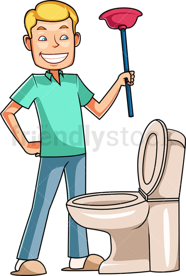 Man holding plunger near toilet. PNG - JPG and vector EPS file formats (infinitely scalable). Image isolated on transparent background.