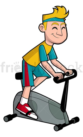 Man riding stationary bicycle. PNG - JPG and vector EPS file formats (infinitely scalable). Image isolated on transparent background.
